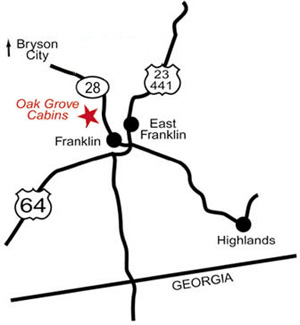 Oak Grove Cabins & Cottages map